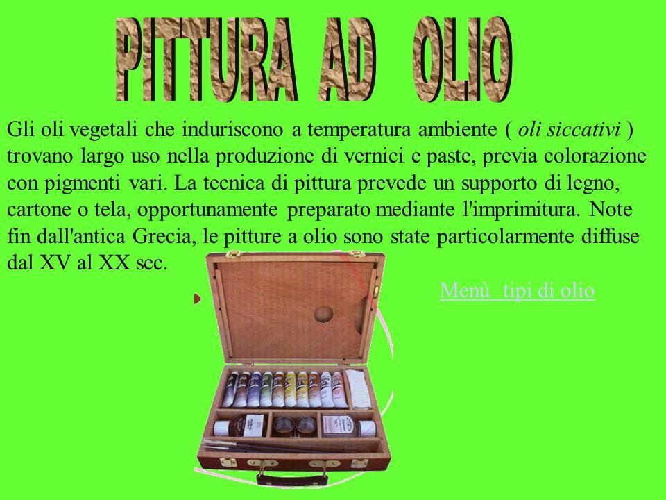 Gli oli vegetali che induriscono a temperatura ambiente ( oli siccativi ) trovano largo uso nella produzione di vernici e paste, previa colorazione co