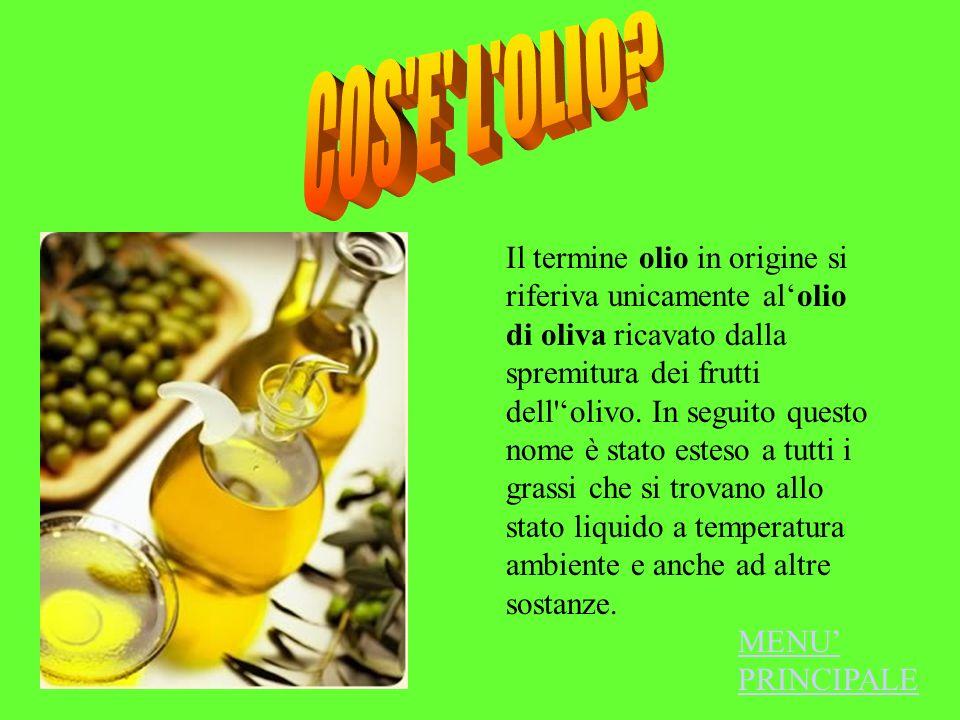 Il termine olio in origine si riferiva unicamente alolio di oliva ricavato dalla spremitura dei frutti dell'olivo. In seguito questo nome è stato este