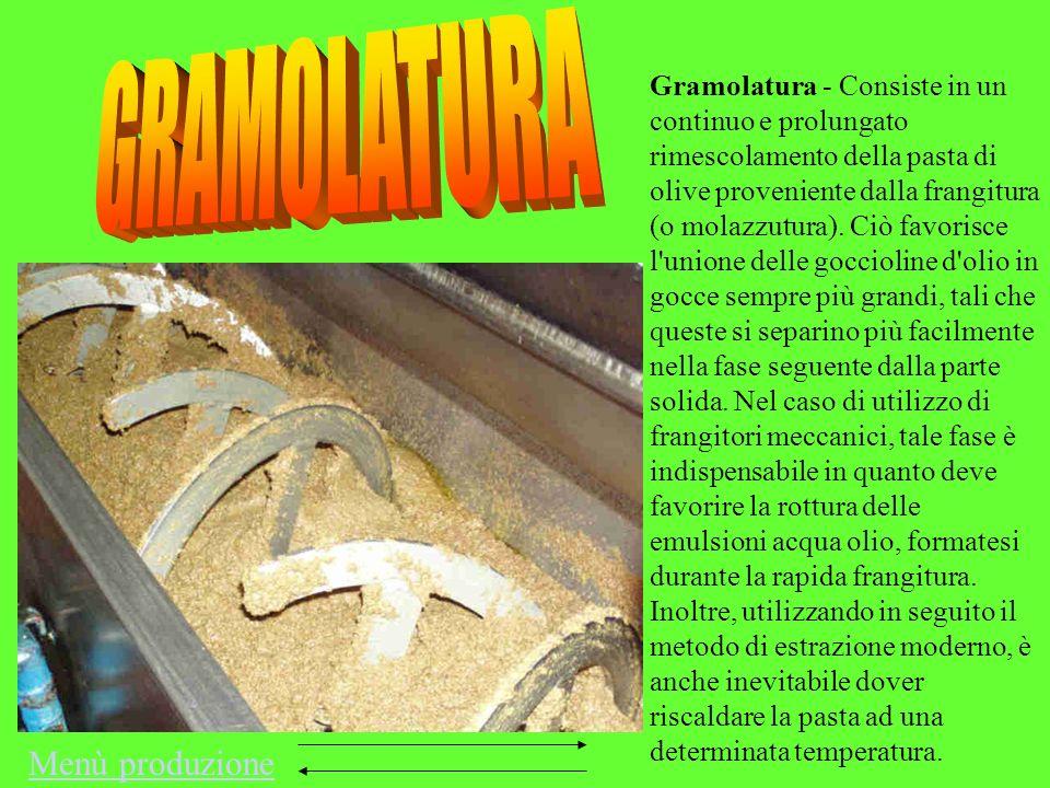 Gramolatura - Consiste in un continuo e prolungato rimescolamento della pasta di olive proveniente dalla frangitura (o molazzutura). Ciò favorisce l'u
