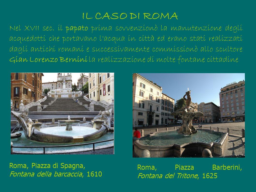 Nel XVII sec. il papato prima sovvenzionò la manutenzione degli acquedotti che portavano l'acqua in città ed erano stati realizzati dagli antichi roma