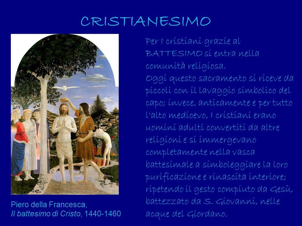 CRISTIANESIMO Per I cristiani grazie al BATTESIMO si entra nella comunità religiosa. Oggi questo sacramento si riceve da piccoli con il lavaggio simbo