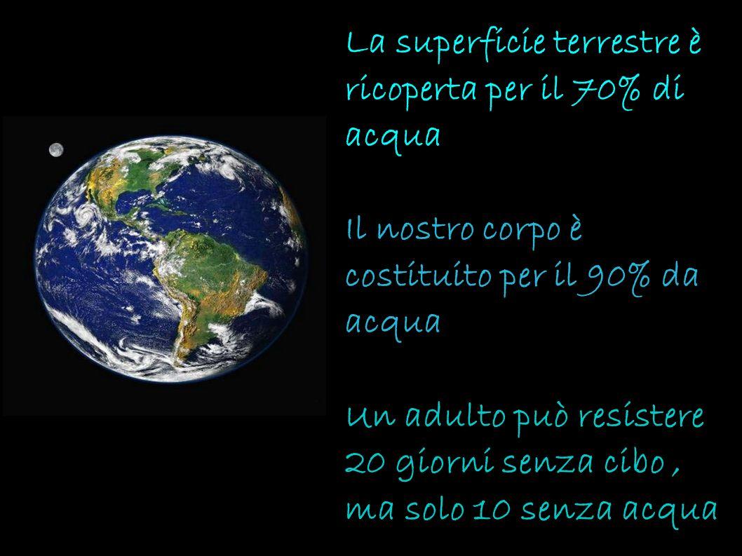 La superficie terrestre è ricoperta per il 70% di acqua Il nostro corpo è costituito per il 90% da acqua Un adulto può resistere 20 giorni senza cibo,