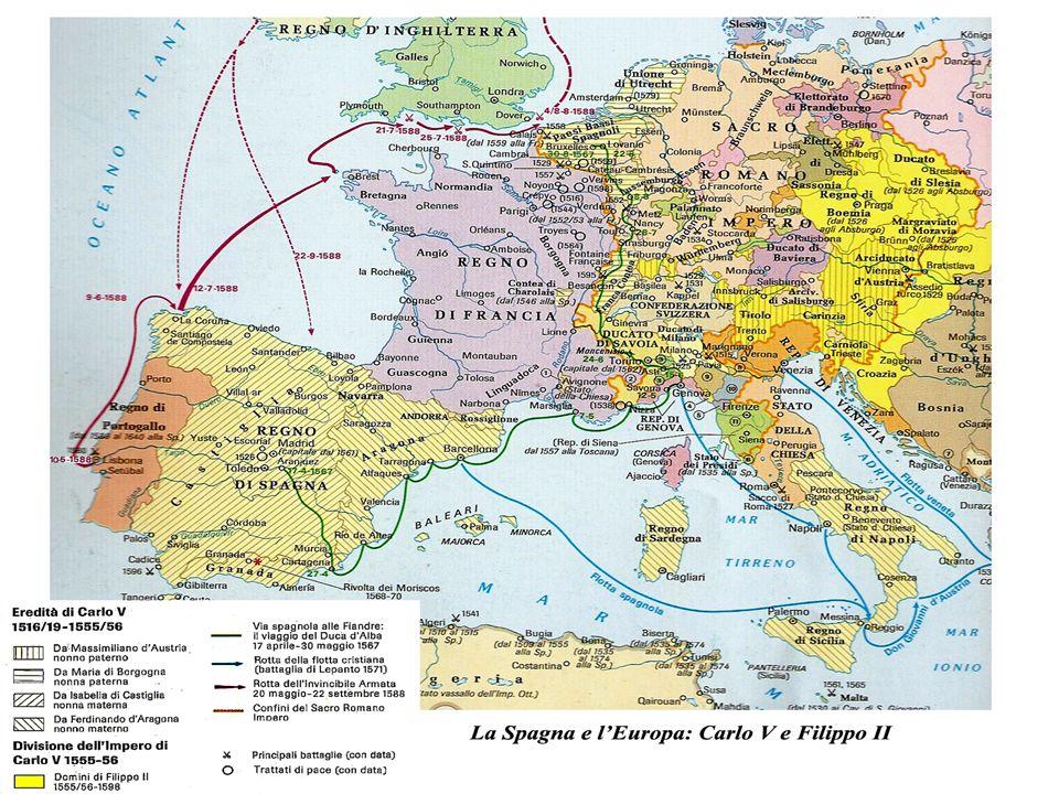 Il figlio di Carlo V, Filippo II (1556-98), nato nel 1527, è erede di vastissimi territori (cosiddetti latini ): Spagna, Italia meridionale (con Sicilia e Sardegna), Milano, Borgogna, Lorena, Bramante, varie province dei Paesi Bassi: Olanda, Limburgo, Gheldria, Zelanda, nonché Lussemburgo (con Namur), Fiandre, Artois...