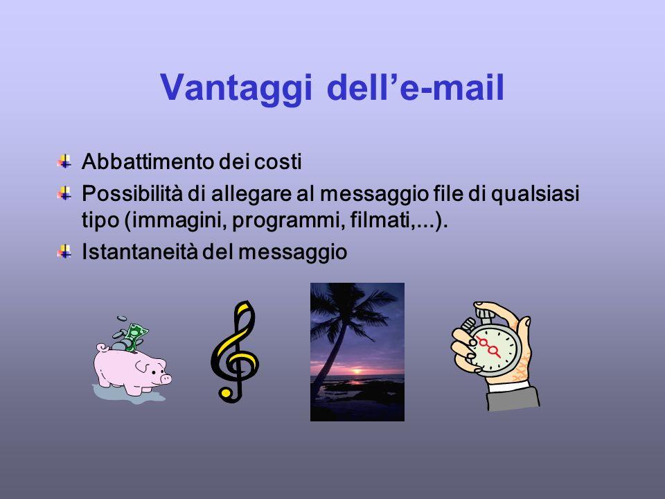 Vantaggi delle-mail Abbattimento dei costi Possibilità di allegare al messaggio file di qualsiasi tipo (immagini, programmi, filmati,...).