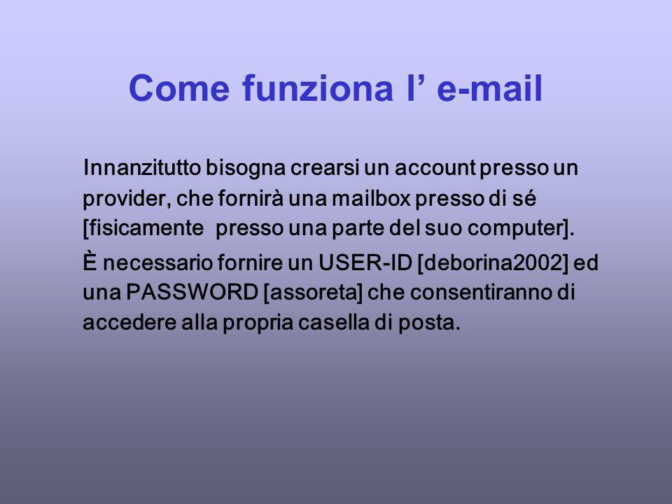 Come funziona l e-mail Innanzitutto bisogna crearsi un account presso un provider, che fornirà una mailbox presso di sé [fisicamente presso una parte del suo computer].