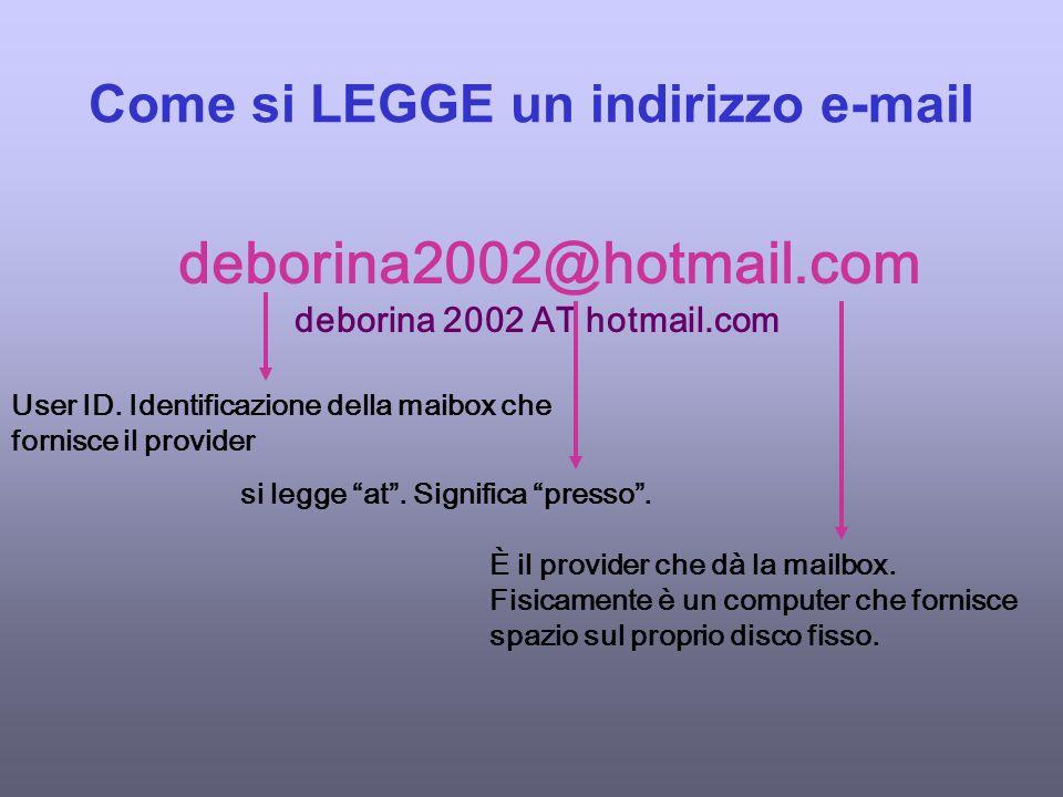 Come si LEGGE un indirizzo e-mail deborina2002@hotmail.com deborina 2002 AT hotmail.com User ID.
