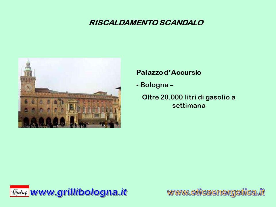 Palazzo dAccursio - Bologna – Oltre 20.000 litri di gasolio a settimana RISCALDAMENTO SCANDALO