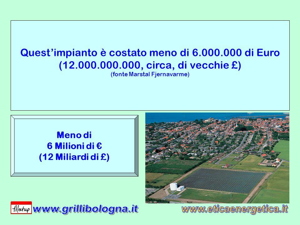 Questimpianto è costato meno di 6.000.000 di Euro (12.000.000.000, circa, di vecchie £) (fonte Marstal Fjernavarme) Meno di 6 Milioni di (12 Miliardi di £)