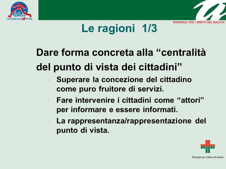Le ragioni 1/3 Dare forma concreta alla centralità del punto di vista dei cittadini Superare la concezione del cittadino come puro fruitore di servizi