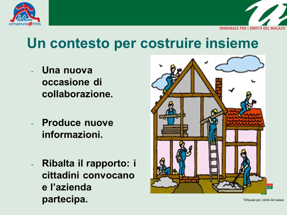 Un contesto per costruire insieme - Una nuova occasione di collaborazione. - Produce nuove informazioni. - Ribalta il rapporto: i cittadini convocano
