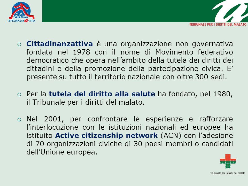 Cittadinanzattiva è una organizzazione non governativa fondata nel 1978 con il nome di Movimento federativo democratico che opera nellambito della tut