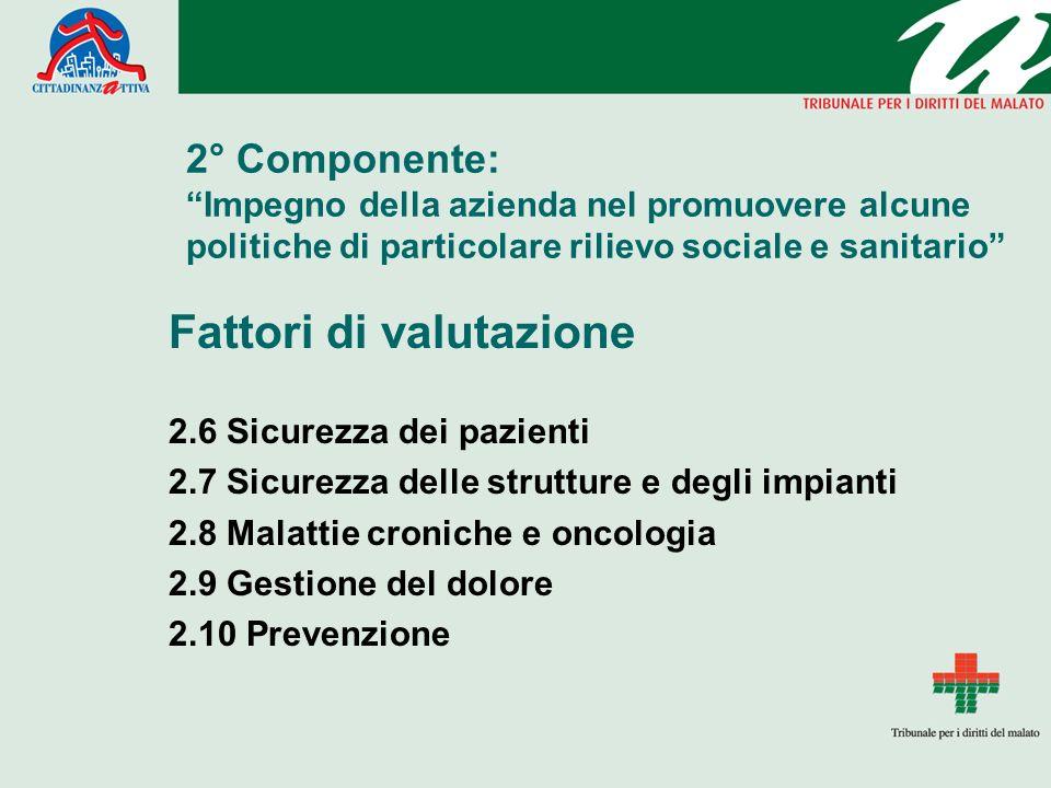 2° Componente: Impegno della azienda nel promuovere alcune politiche di particolare rilievo sociale e sanitario Fattori di valutazione 2.6 Sicurezza d