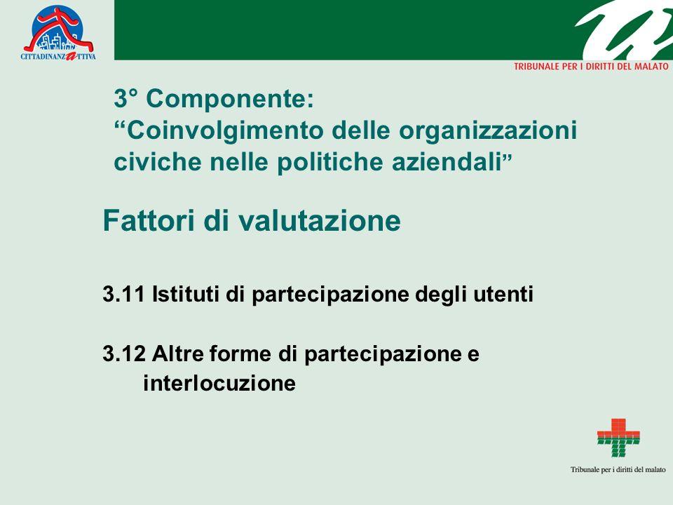 3° Componente: Coinvolgimento delle organizzazioni civiche nelle politiche aziendali Fattori di valutazione 3.11 Istituti di partecipazione degli uten