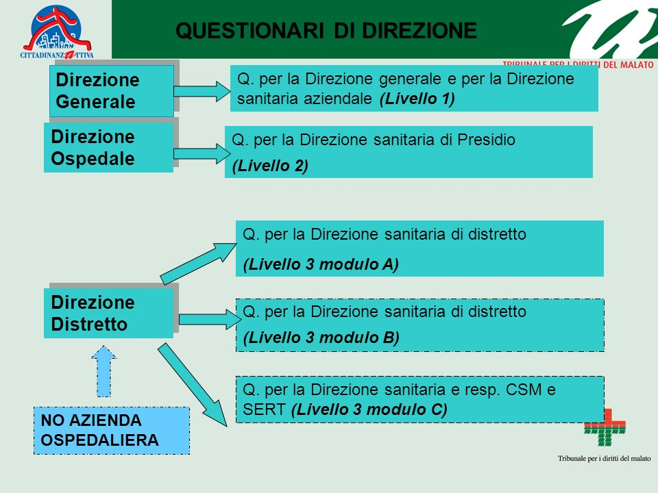 Direzione Generale Direzione Ospedale Direzione Distretto QUESTIONARI DI DIREZIONE Q. per la Direzione generale e per la Direzione sanitaria aziendale