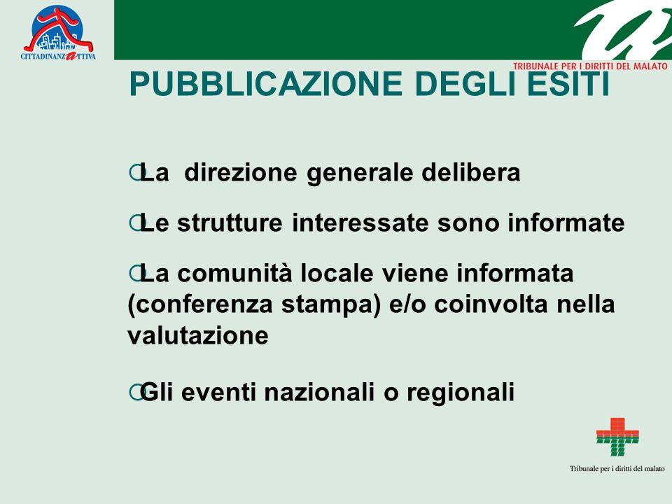 PUBBLICAZIONE DEGLI ESITI La direzione generale delibera Le strutture interessate sono informate La comunità locale viene informata (conferenza stampa