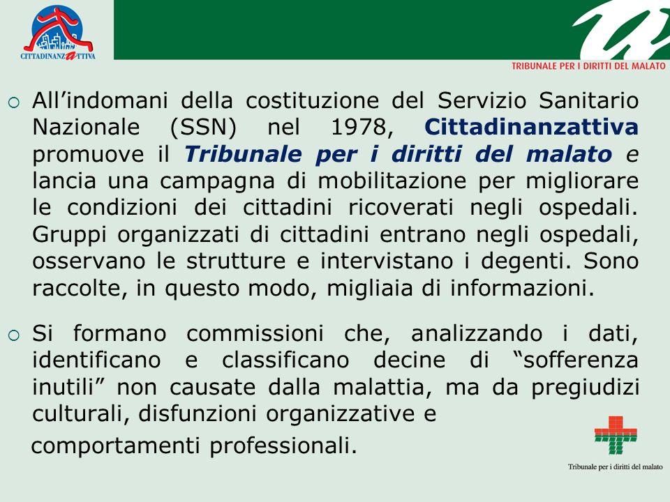 Allindomani della costituzione del Servizio Sanitario Nazionale (SSN) nel 1978, Cittadinanzattiva promuove il Tribunale per i diritti del malato e lan