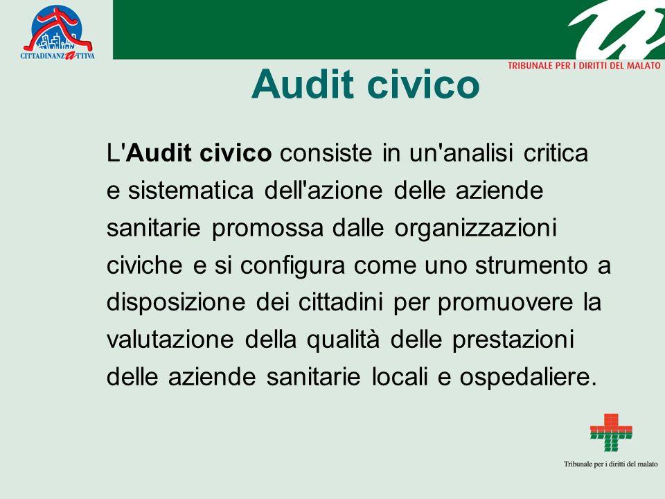 Audit civico L'Audit civico consiste in un'analisi critica e sistematica dell'azione delle aziende sanitarie promossa dalle organizzazioni civiche e s