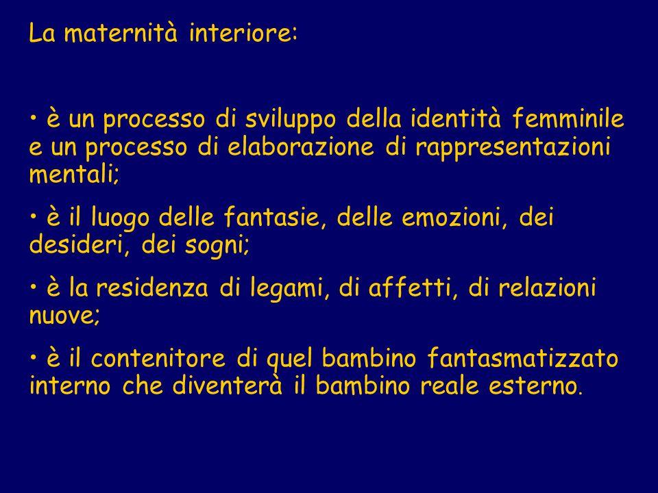La maternità interiore: è un processo di sviluppo della identità femminile e un processo di elaborazione di rappresentazioni mentali; è il luogo delle