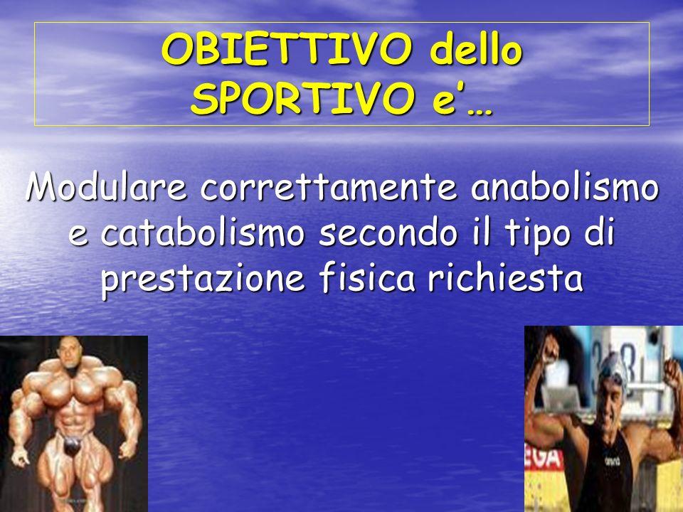 OBIETTIVO dello SPORTIVO e… Modulare correttamente anabolismo e catabolismo secondo il tipo di prestazione fisica richiesta