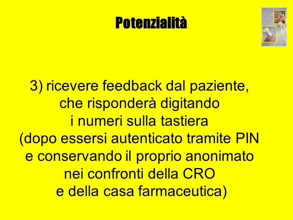 Potenzialità 3) ricevere feedback dal paziente, che risponderà digitando i numeri sulla tastiera (dopo essersi autenticato tramite PIN e conservando i