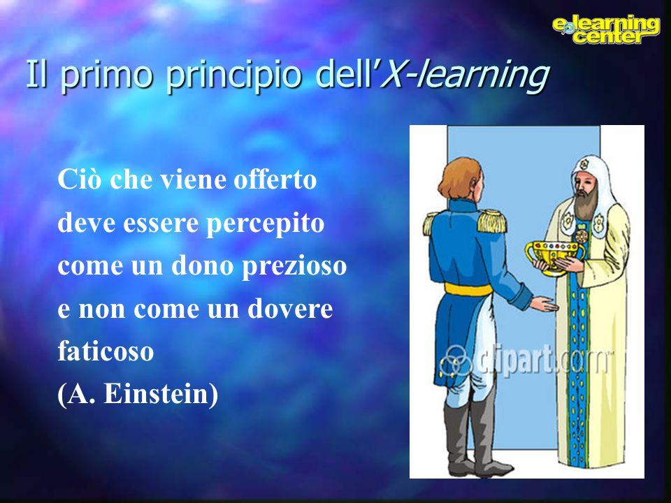 Il primo principio dellX-learning Ciò che viene offerto deve essere percepito come un dono prezioso e non come un dovere faticoso (A. Einstein)