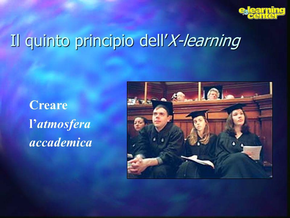 Il quinto principio dellX-learning Creare latmosfera accademica