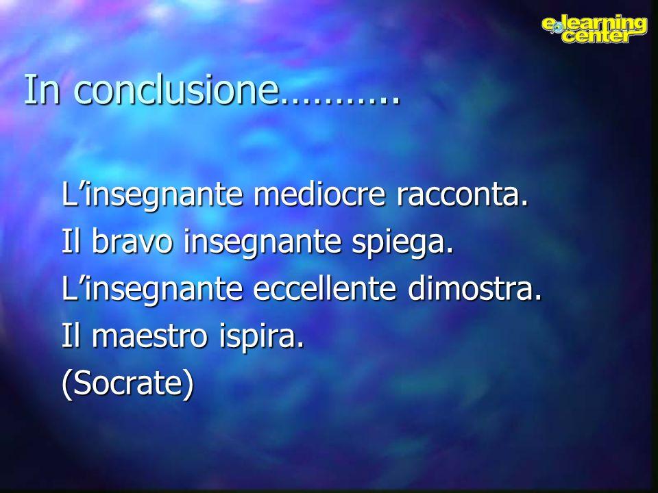 In conclusione……….. Linsegnante mediocre racconta. Il bravo insegnante spiega. Linsegnante eccellente dimostra. Il maestro ispira. (Socrate)