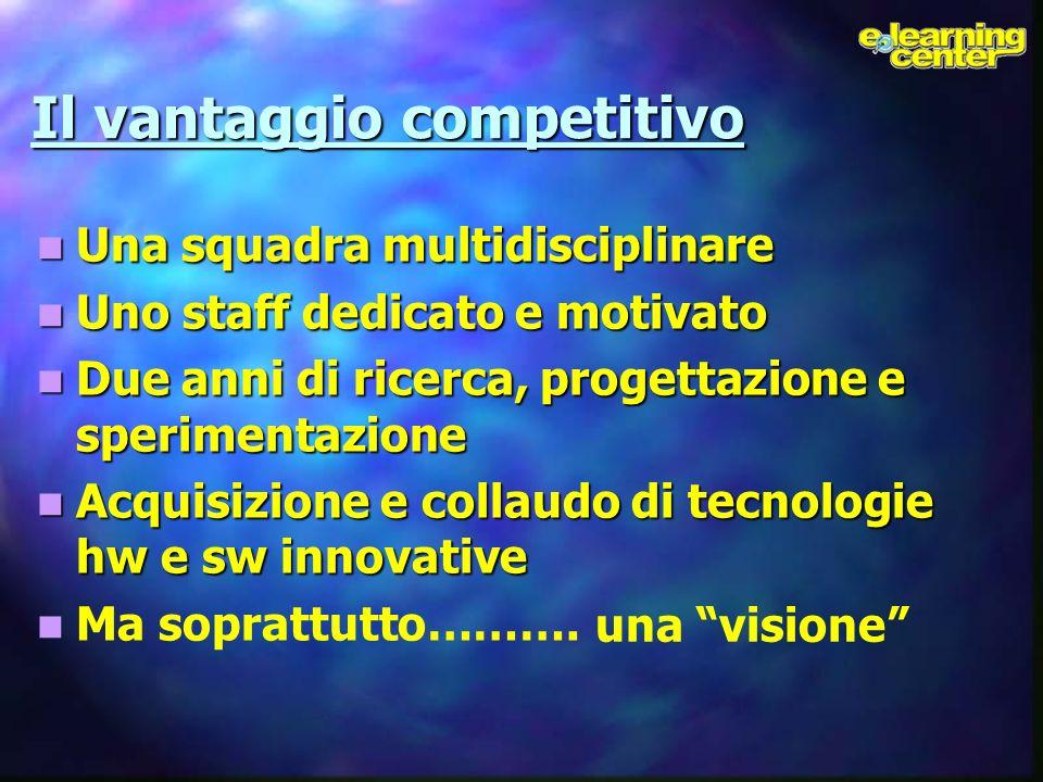 Il vantaggio competitivo Una squadra multidisciplinare Una squadra multidisciplinare Uno staff dedicato e motivato Uno staff dedicato e motivato Due a