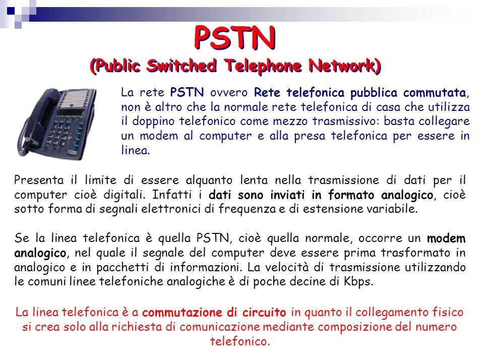 PSTN (Public Switched Telephone Network) La rete PSTN ovvero Rete telefonica pubblica commutata, non è altro che la normale rete telefonica di casa ch
