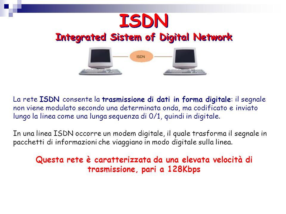 ISDN Integrated Sistem of Digital Network La rete ISDN consente la trasmissione di dati in forma digitale: il segnale non viene modulato secondo una d