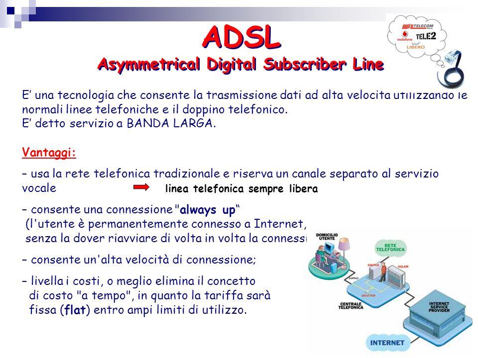 ADSL Asymmetrical Digital Subscriber Line E una tecnologia che consente la trasmissione dati ad alta velocità utilizzando le normali linee telefoniche