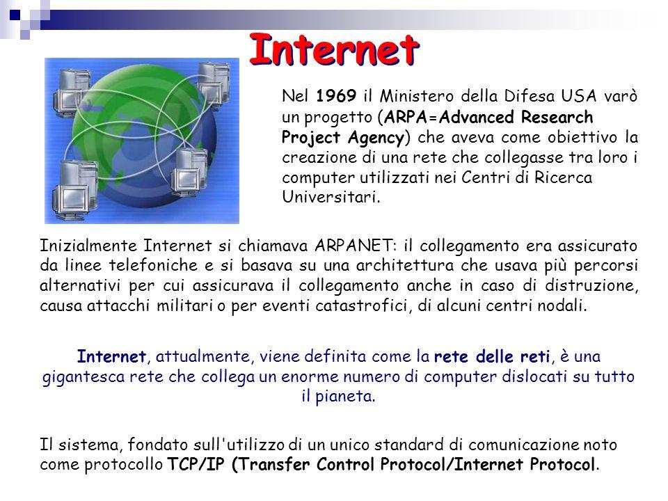 Nel 1969 il Ministero della Difesa USA varò un progetto (ARPA=Advanced Research Project Agency) che aveva come obiettivo la creazione di una rete che
