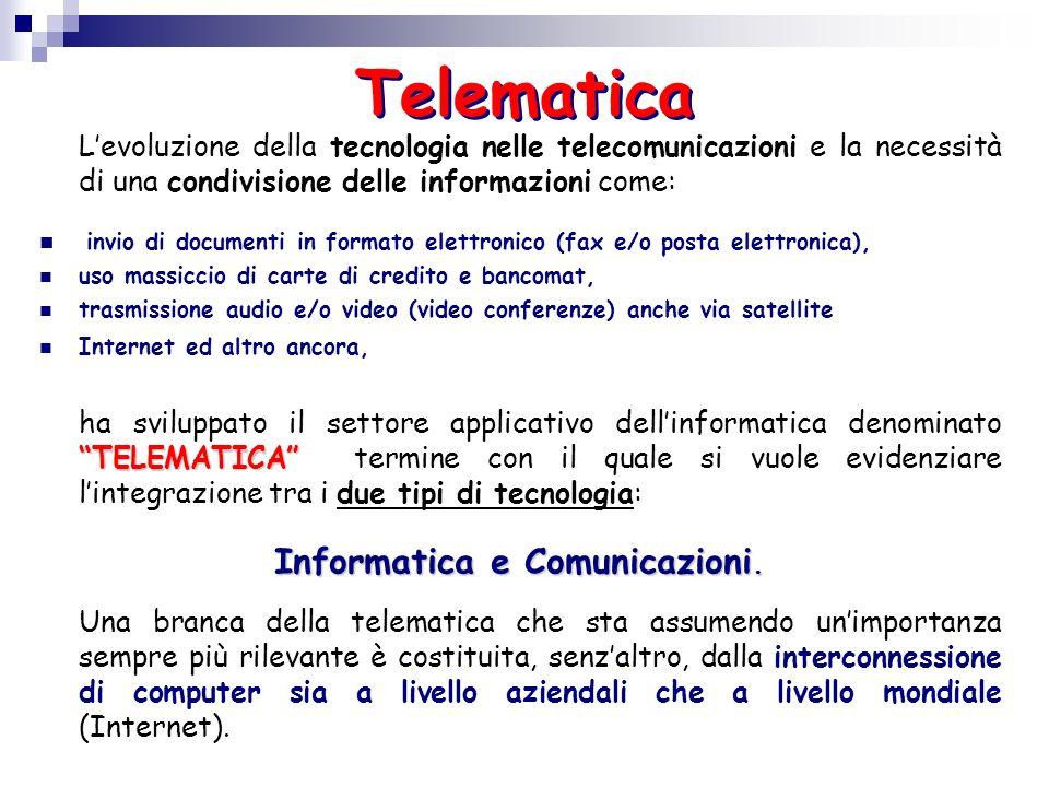 Telematica Levoluzione della tecnologia nelle telecomunicazioni e la necessità di una condivisione delle informazioni come: invio di documenti in form