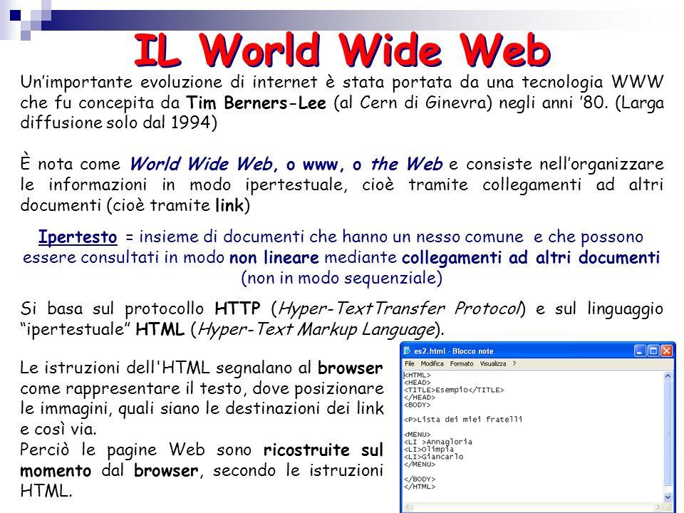 Unimportante evoluzione di internet è stata portata da una tecnologia WWW che fu concepita da Tim Berners-Lee (al Cern di Ginevra) negli anni 80. (Lar
