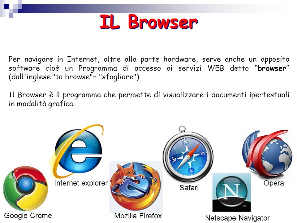 Internet explorer IL Browser Google Crome Safari Netscape Navigator Per navigare in Internet, oltre alla parte hardware, serve anche un apposito softw