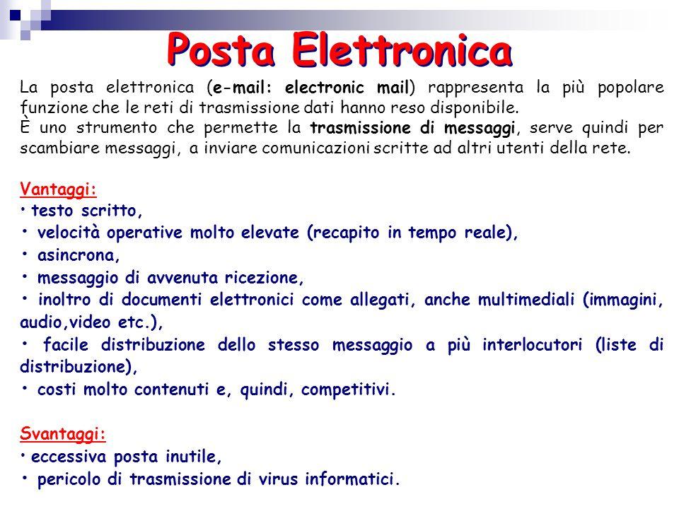 La posta elettronica (e-mail: electronic mail) rappresenta la più popolare funzione che le reti di trasmissione dati hanno reso disponibile. È uno str