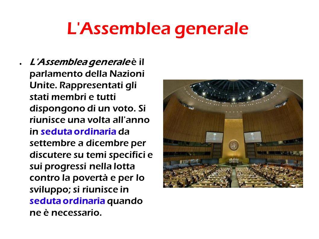L'Assemblea generale è il parlamento della Nazioni Unite. Rappresentati gli stati membri e tutti dispongono di un voto. Si riunisce una volta all'anno