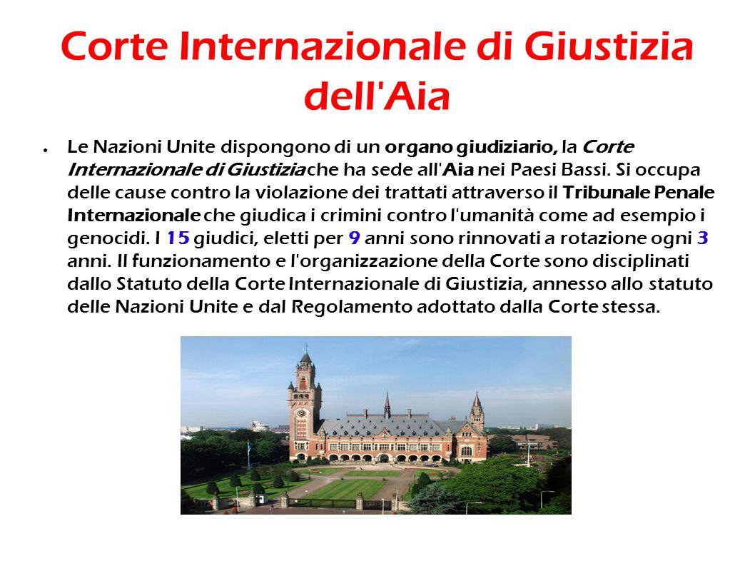 Corte Internazionale di Giustizia dell'Aia Le Nazioni Unite dispongono di un organo giudiziario, la Corte Internazionale di Giustizia che ha sede all'