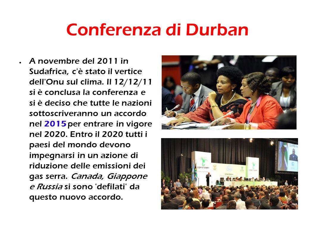 Conferenza di Durban A novembre del 2011 in Sudafrica, c'è stato il vertice dell'Onu sul clima. Il 12/12/11 si è conclusa la conferenza e si è deciso
