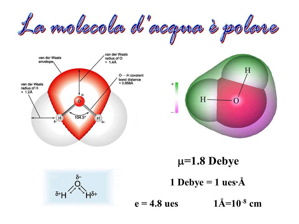=1.8 Debye 1 Debye = 1 ues·Å e = 4.8 ues 1Å=10 -8 cm