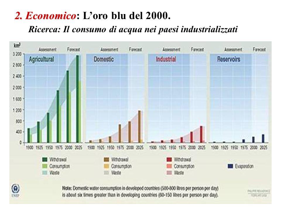 2. Economico 2. Economico: Loro blu del 2000. Ricerca: Il consumo di acqua nei paesi industrializzati