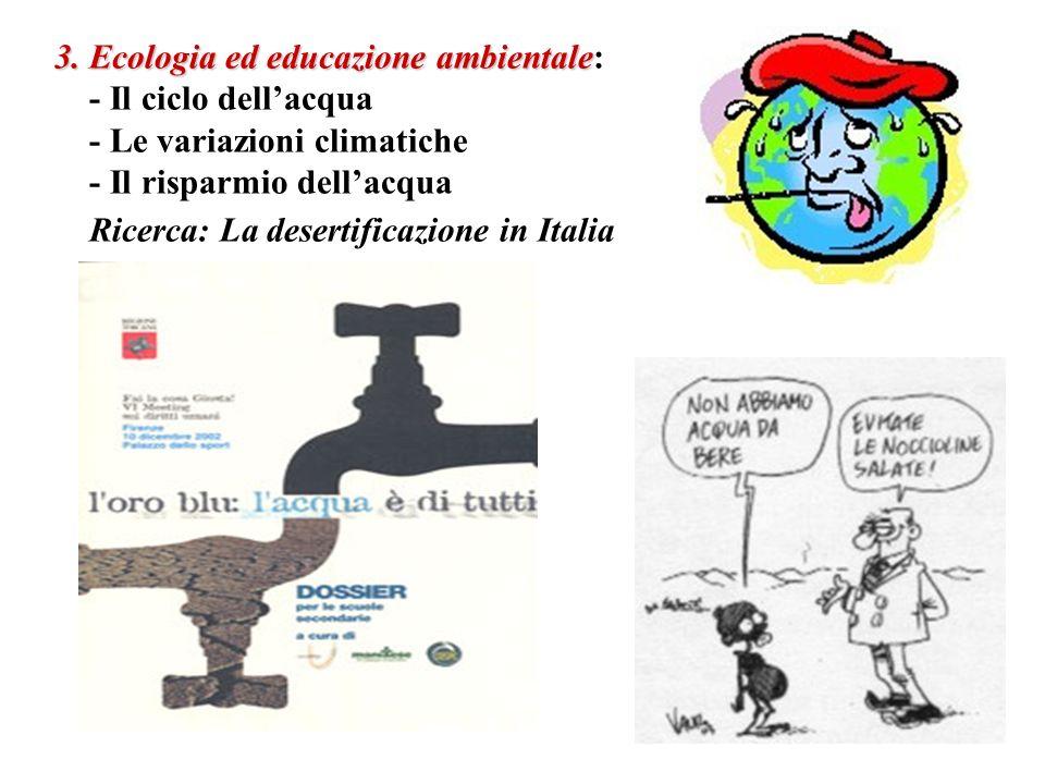 3. Ecologia ed educazione ambientale 3. Ecologia ed educazione ambientale: - Il ciclo dellacqua - Le variazioni climatiche - Il risparmio dellacqua Ri