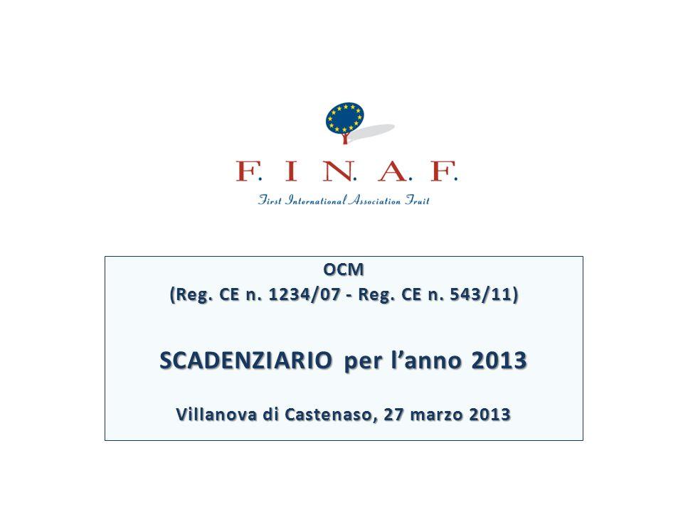 OCM (Reg. CE n. 1234/07 - Reg. CE n. 543/11) SCADENZIARIO per lanno 2013 Villanova di Castenaso, 27 marzo 2013