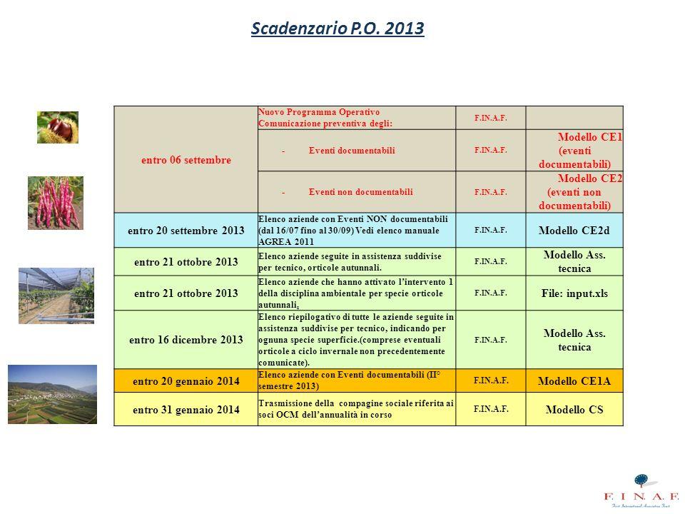 Scadenzario P.O. 2013 entro 06 settembre Nuovo Programma Operativo Comunicazione preventiva degli: F.IN.A.F. - Eventi documentabili F.IN.A.F. Modello
