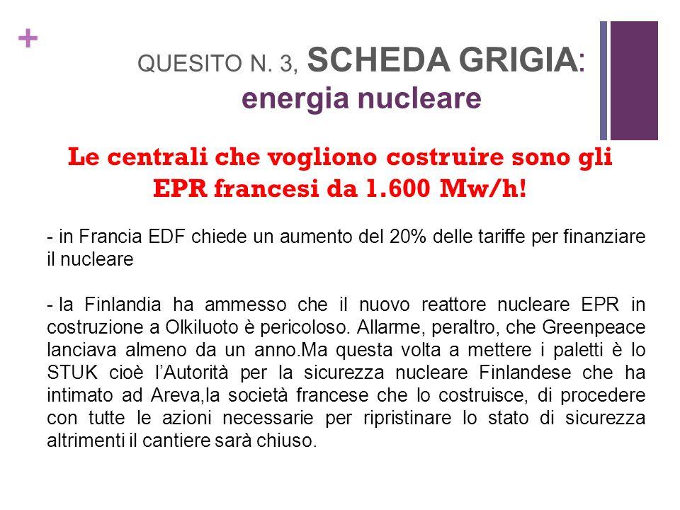 + QUESITO N. 3, SCHEDA GRIGIA: energia nucleare Le centrali che vogliono costruire sono gli EPR francesi da 1.600 Mw/h! - in Francia EDF chiede un aum