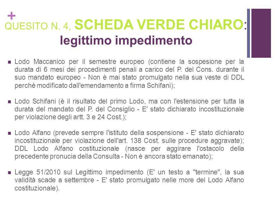 + QUESITO N. 4, SCHEDA VERDE CHIARO: legittimo impedimento Lodo Maccanico per il semestre europeo (contiene la sospesione per la durata di 6 mesi dei