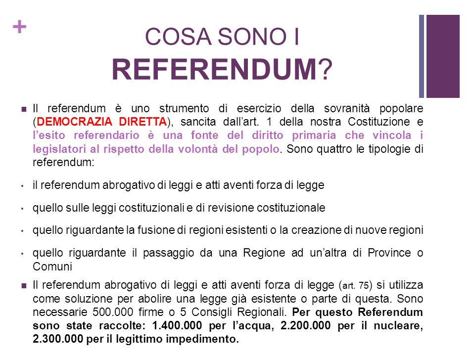 + COSA SONO I REFERENDUM? Il referendum è uno strumento di esercizio della sovranità popolare (DEMOCRAZIA DIRETTA), sancita dallart. 1 della nostra Co