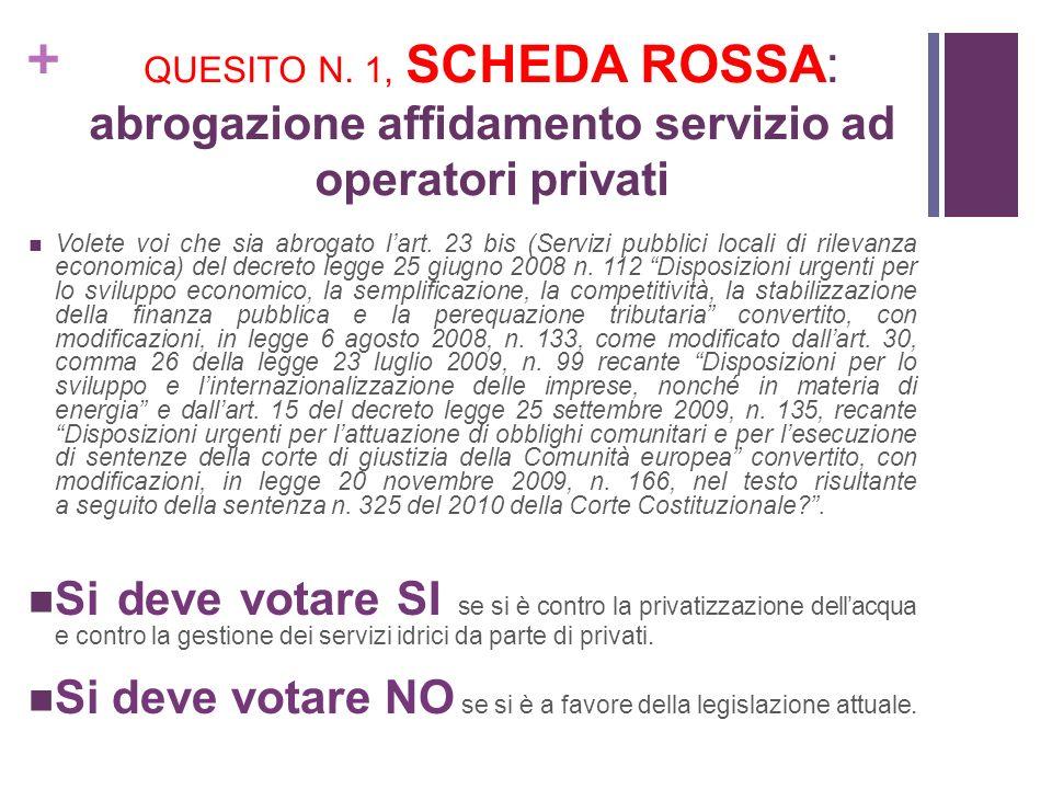+ QUESITO N. 1, SCHEDA ROSSA: abrogazione affidamento servizio ad operatori privati Volete voi che sia abrogato lart. 23 bis (Servizi pubblici locali