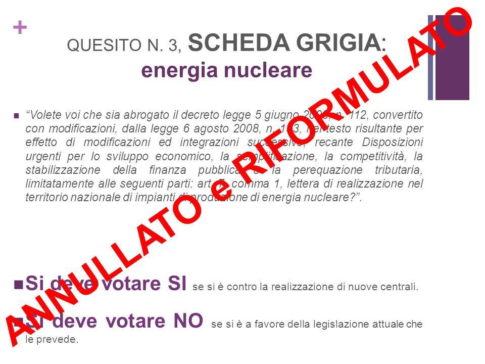 + QUESITO N. 3, SCHEDA GRIGIA: energia nucleare Volete voi che sia abrogato il decreto legge 5 giugno 2008, n. 112, convertito con modificazioni, dall