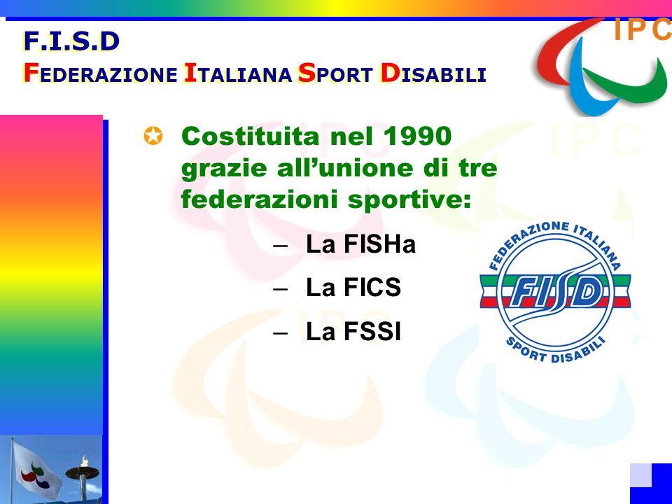 F.I.S.D F EDERAZIONE I TALIANA S PORT D ISABILI Costituita nel 1990 grazie allunione di tre federazioni sportive: –La FISHa –La FICS –La FSSI